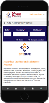 Kore Health and Safety Mobile Dashboard 2